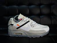 Мужские кроссовки Nike Air Max 90 бежев - Кожа+замша+текстиль,подошва:амортизац. технология Аер,размеры:40-45, фото 1