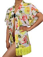 Пляжная накидка туника с бахромой (парео, пляжное платье, кимоно) с розами