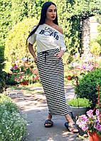 Женский костюм юбка и блузка из трикотажа