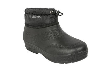 Галоши женские меховые со шнурком ЭВА черные