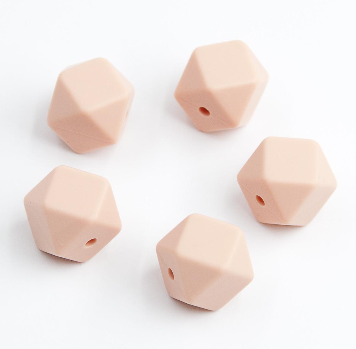 """Силиконовые бусины """"Многоугольники"""" персиковые 14х18 мм"""