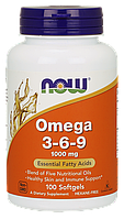 Рыбий жир NOW Omega 3-6-9 100 softgels