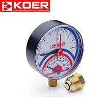 Термоманометр радиальный 0-10 bar Koer KM.801R D=80 мм 1/2''