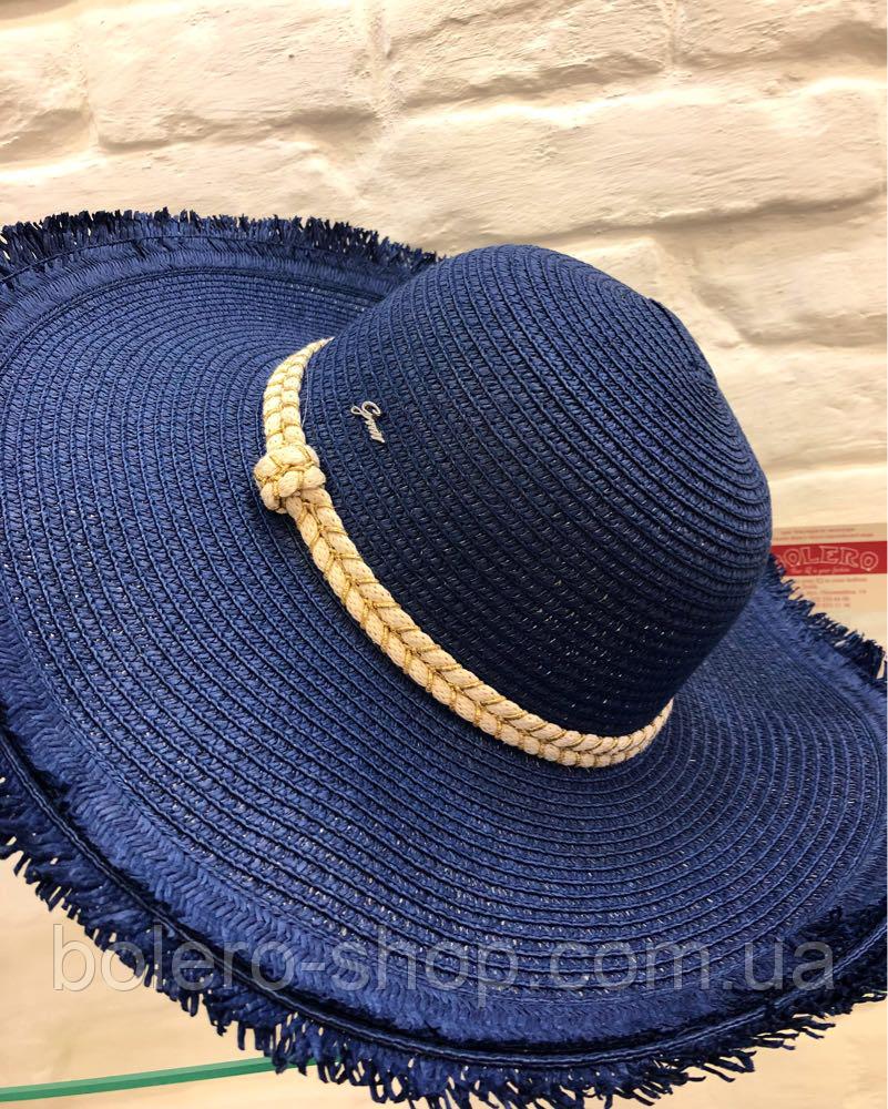 Шляпа женская синяя соломенная Италия