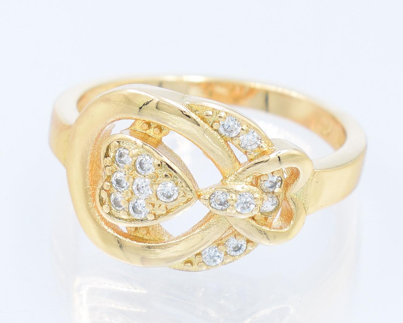 XUPING Кольцо Позолота 18к сердечко с цирконами в интересной оправе Ширина 12см,Размер 17