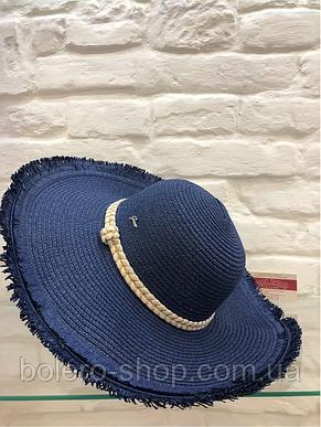 Шляпа женская синяя соломенная Италия, фото 2