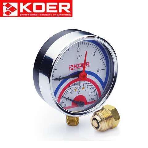 Термоманометр радиальный 0-10 bar Koer KM.821R D=80 мм 1/2''