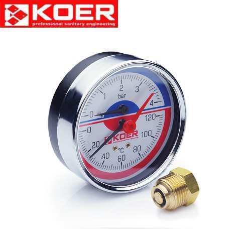Термоманометр аксиальный 0-6 bar Koer KM.812A D=80 мм 1/2''