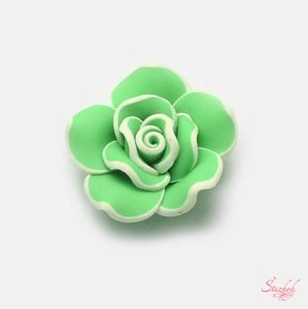 Бусина из полимерной глина 30х14мм 3D цветок для рукоделия цвет салатовый