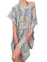 Пляжная накидка туника полу-прозрачная (парео, пляжное платье, накидка) в мелкий цветочек