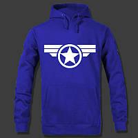 """Молодежная толстовка """"Captain America"""" с капюшоном Синяя, Размер M"""