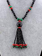 054576 Бусы из натуральных камней Агат, Коралл, Малахит 65 см.
