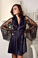 Изысканный атласный халат с кружевными рукавами темно-синий, фото 1