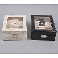"""Шкатулка настольная для часов / мелких драгоценностей """"Classic"""" J289, кожзам, на 4 пары, 8х15х20 см, 2 вида, футляр для часов, коробка для часов"""