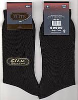 Носки мужские тонкие шёлк Calze Elite, 41-45 размер, высокие, чёрные, 02322