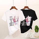 """Женский стильный костюм """"Мороженное"""": футболка и джинсы (2 цвета), фото 3"""