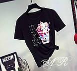"""Женский стильный костюм """"Мороженное"""": футболка и джинсы (2 цвета), фото 4"""