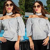 Женская блуза свободная полосатая с чокером, фото 1