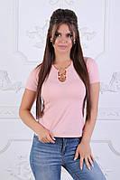 Женская футболка с кольцами пудра, фото 1