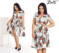 Платье женское на запах с цветочками Размер 50-56, фото 1