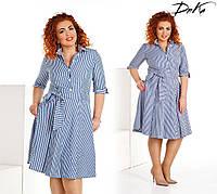 Женское платье-рубашка в полоску с поясом, фото 1