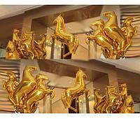 Воздушный шар из фольги лошадь золотая 75*50 см