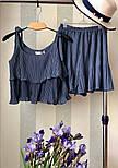 Женский хитовый плиссированный костюм: топ с рюшами и юбка-шорты (3 цвета), фото 7