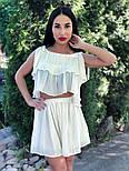 Женский хитовый плиссированный костюм: топ с рюшами и юбка-шорты (3 цвета), фото 8