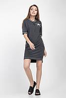 Модное женское платье-туника темно-серого цвета