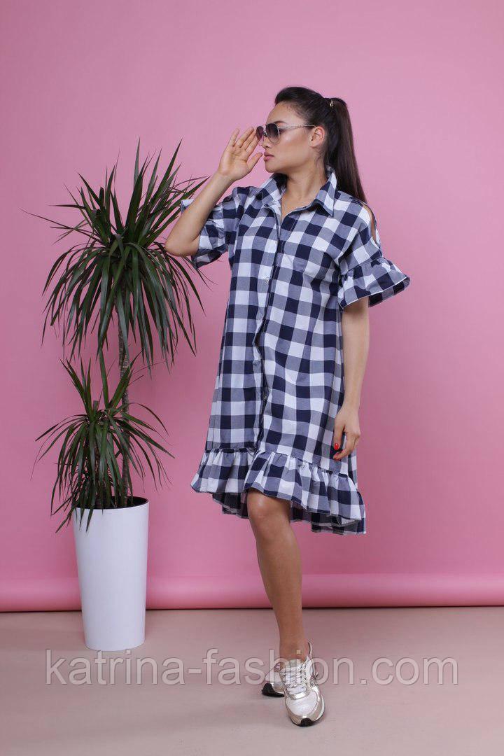 Женское стильное casual-платье свободного кроя в клетку (2 цвета)