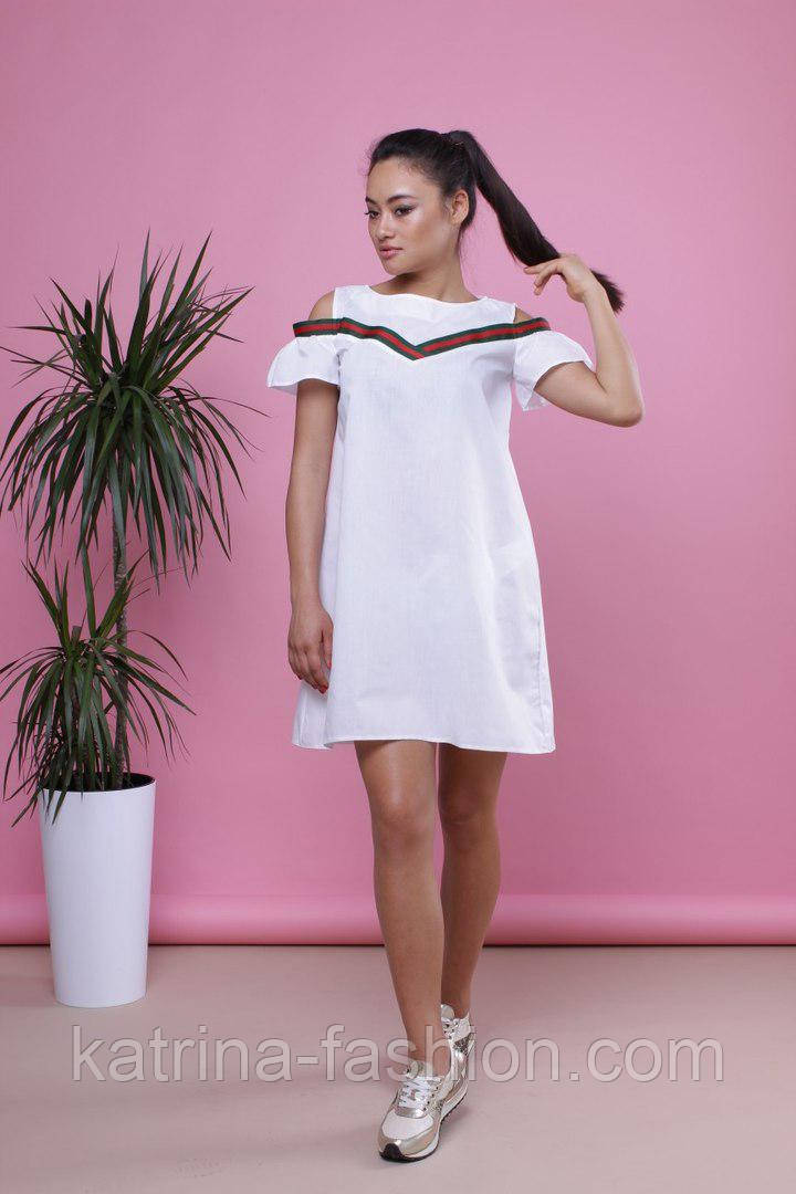 Женское хлопковое платье-трапеция (3 цвета)