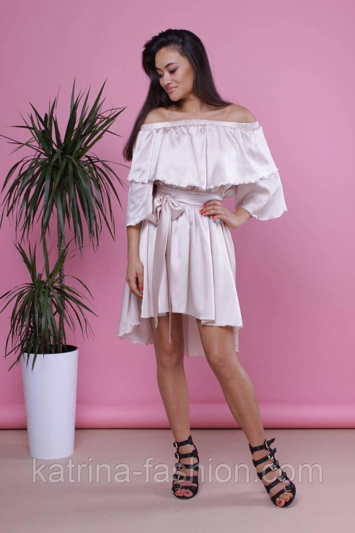 Женское легкое красивое шелковое платье со спущенными плечиками (3 цвета)