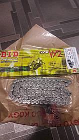 Мото цепь  520 DID 520VX2 104 стальная (черная)  для мотоцикла сальники типа X-Ring