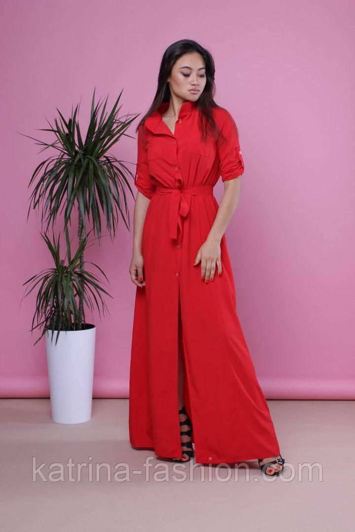 Женское модное платье-рубашка в пол из легкой нежной ткани (4 цвета)