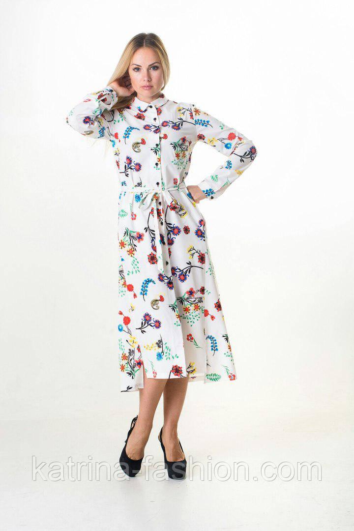 Женское красивое платье-рубашка с карманами и поясом (3 цвета)