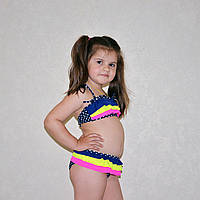 Раздельный детский купальник для пляжа,синий в белый горох с желто-розовыми рюшами, возраст 8-10 лет