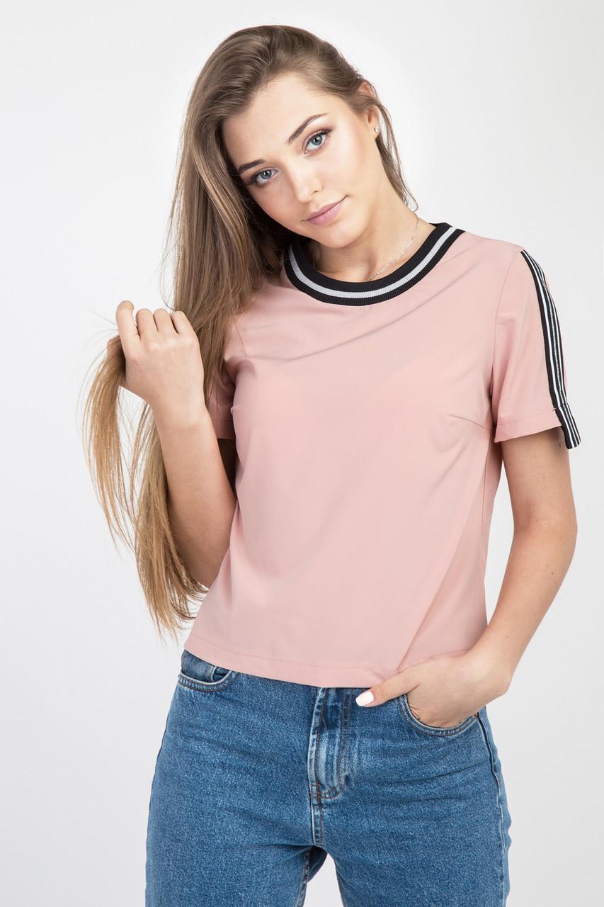 Стильная женская блузка с лампасами, персикового цвета