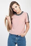Стильная женская блузка с лампасами, персикового цвета, фото 1