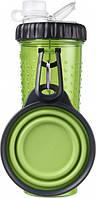 Dx30761 Dexas Бутылка двойная для воды и корма со складной миской 720 мл, зеленая