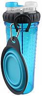 Dx30721 Dexas Бутылка двойная для воды со складной миской 720 мл, голубая