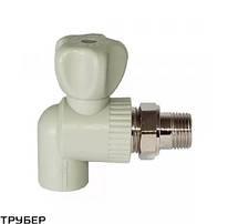 Кран  шаровый радиаторный угловой D 25*3/4' полипропилен SANICA (серое)