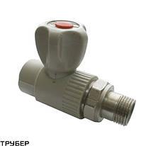 Кран шаровый радиаторный прямой  20*1/2 полипропилен SANICA (серое)