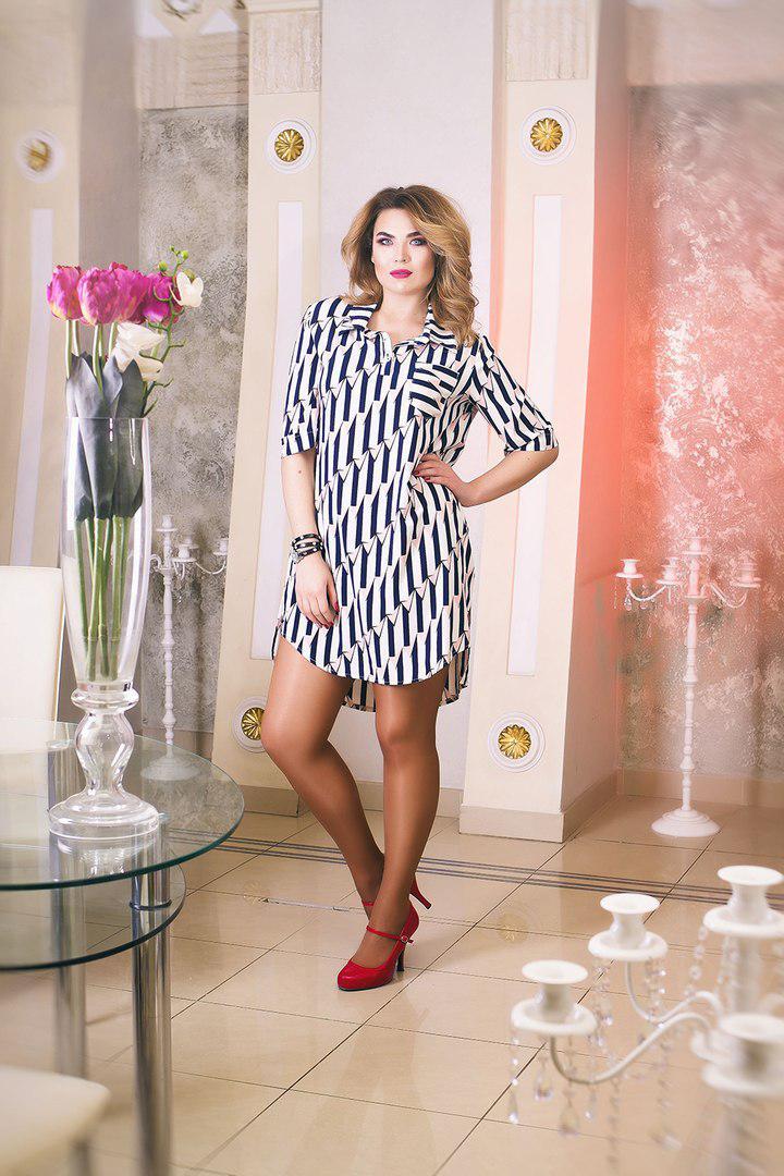 Платье-рубашка больших размеров 52+ с принтом   арт 5564-540
