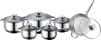 Посуда сковорода + набор кастрюль Royalty Line RL-1231