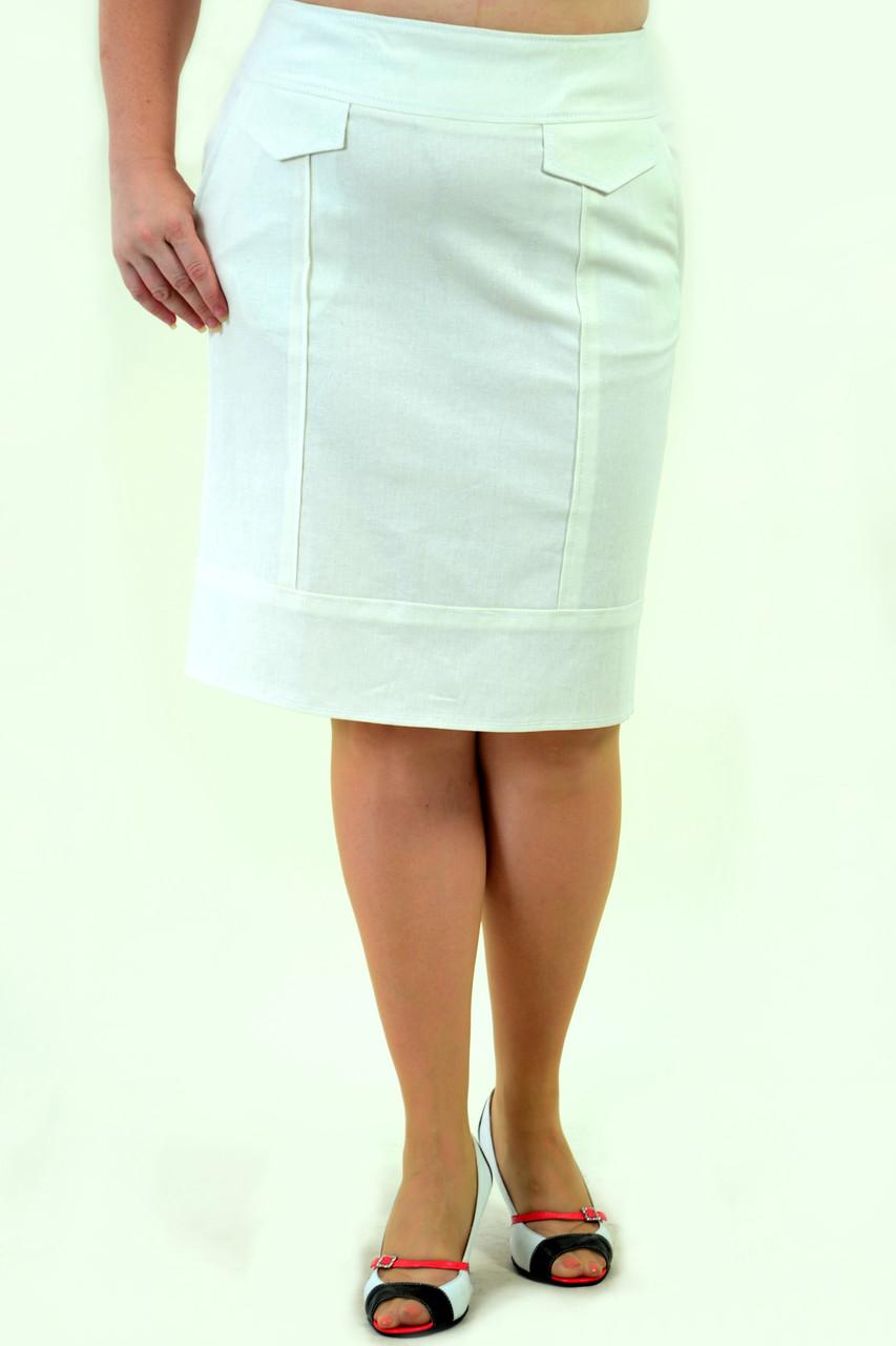 Юбка женская из льна , одежда для молодежи, Ю 792-1  только 52-54, хлопок лен, юбка в спортивном стиле.