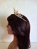 Диадема, корона,  тиара под  золото с жемчугом и камнями,  высота 5,5 см., фото 6