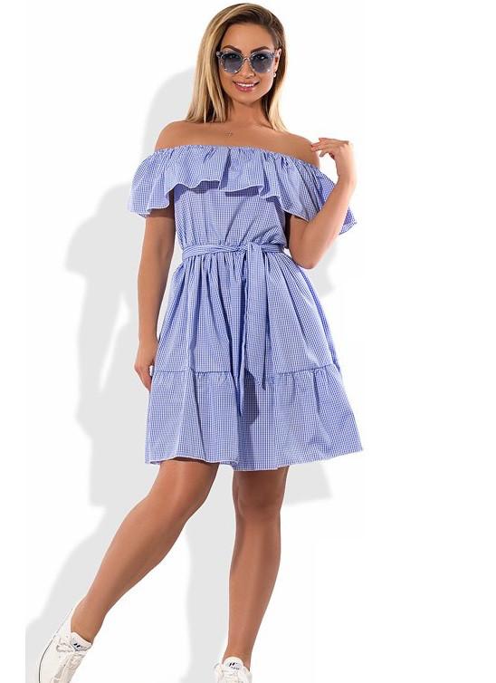 Платье сарафан на лето из коттона с оборками размеры от XL ПБ-590