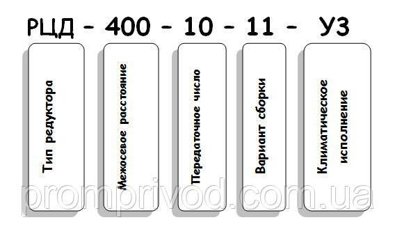Условные обозначения редуктора РЦД-400-10