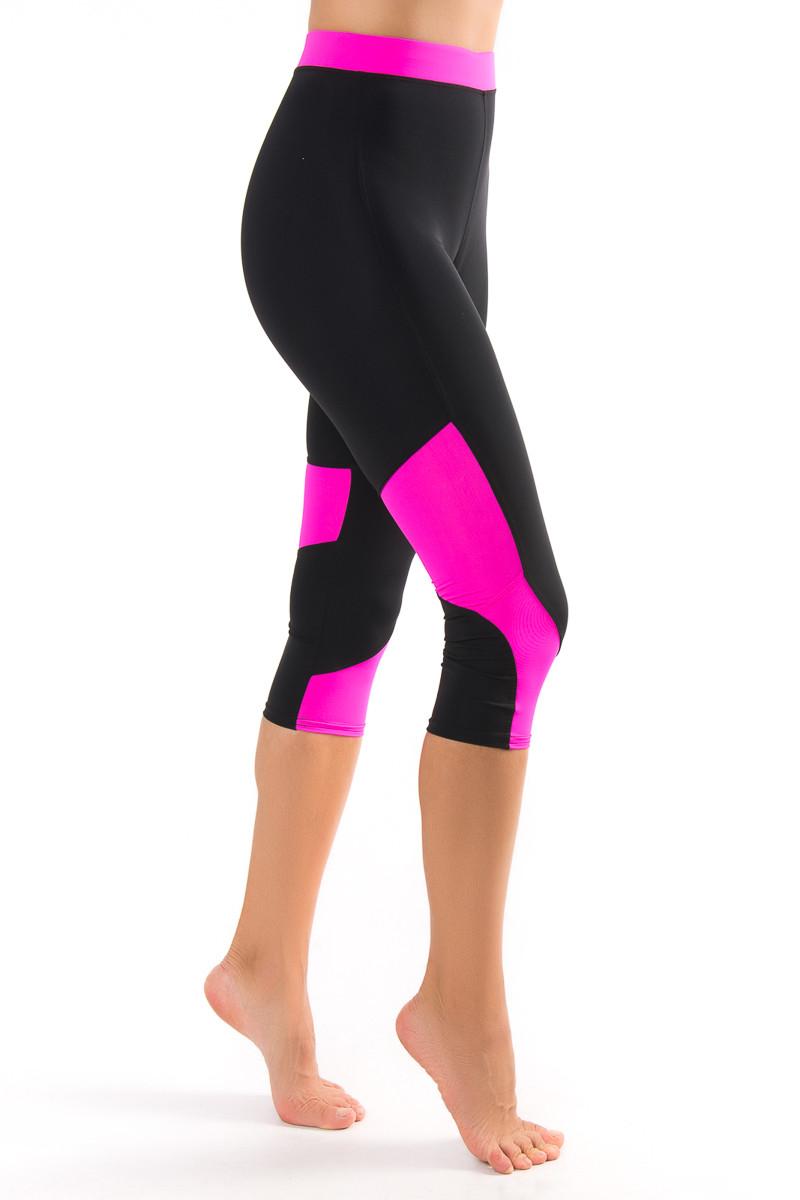 Спортивные бриджи с цветной розовой  вставкой