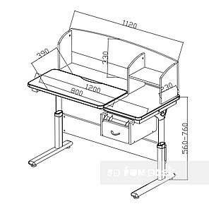 Регулируемая парта с надстройкой FunDesk Creare Grey и выдвижным ящиком, фото 2